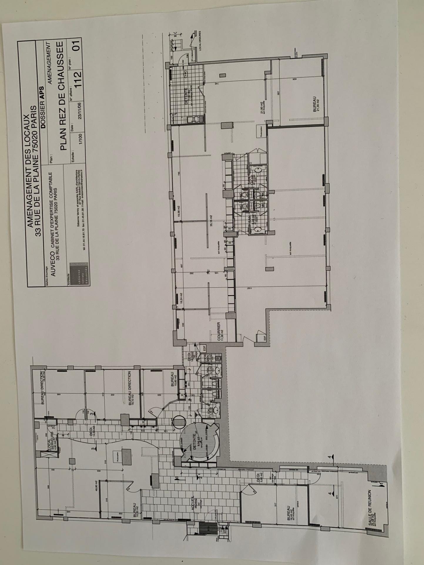 Plateau de Bureaux 400 m2 PARIS 20è Mo BUZENVAL – RER NATION